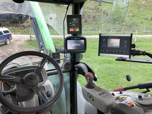 Ag Leader Compass fitted in Deutz tractor supplying guidance and speed for teejet 844 rate controller