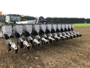 Spencer Marshalls drill fitted with Agleader components for precise depth and seed spacings.